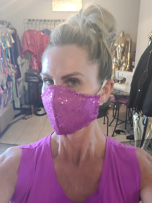 Lilac sequin 3-layer mask