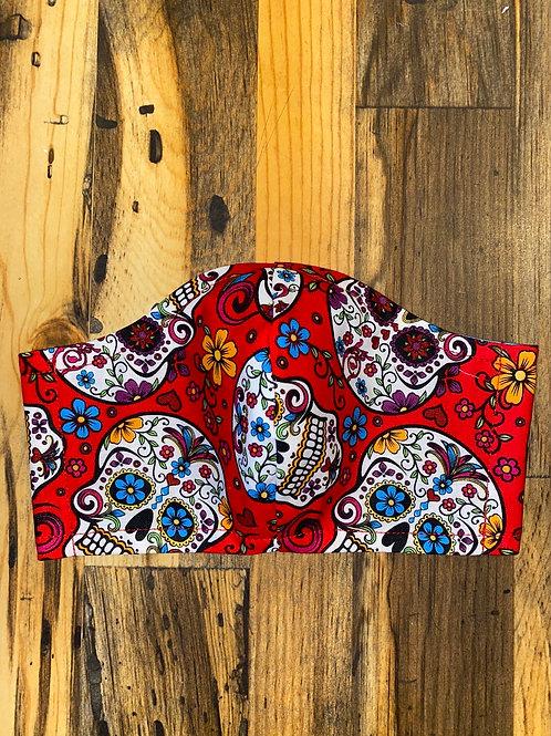 Red sugar skulls 3-layer mask