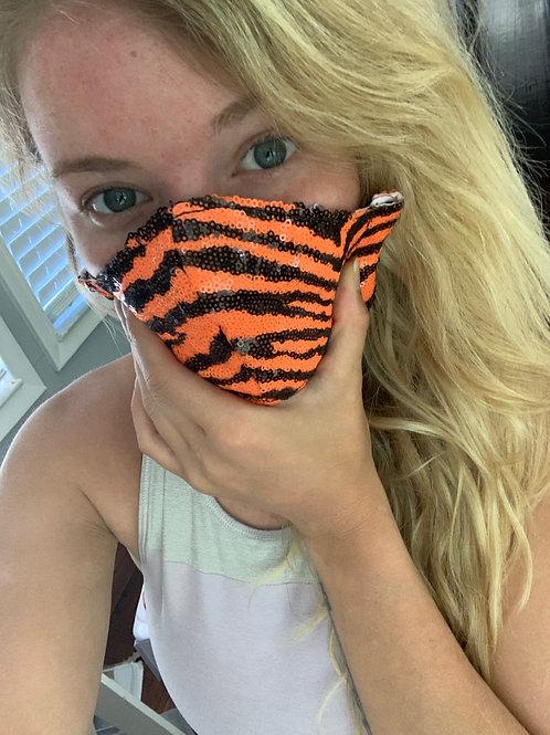 Orange Tiger sequin WOMAN's 3-layer mask