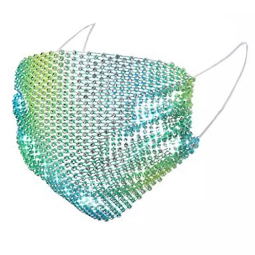 Crystal net mask-green/blue/yellow crystal