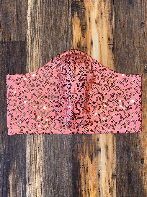 Coral/gold sequin WOMEN's 3-layer mask