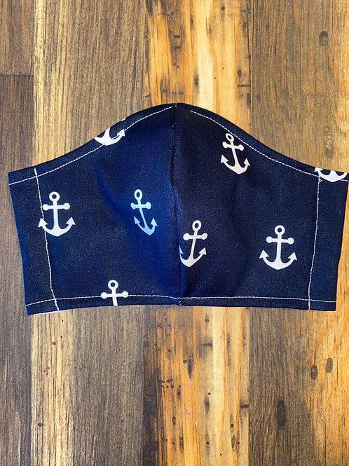 Navy/white Anchors ⚓️ WOMEN's 3-layer mask