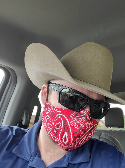 MEN's red bandana 3-layer mask