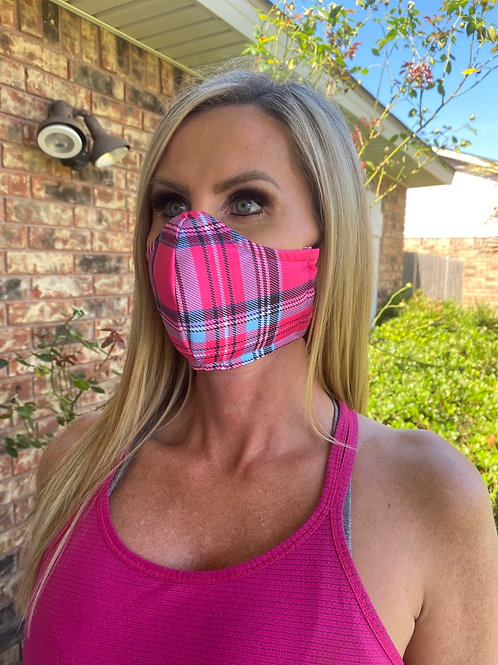Hot pink/turquoise plaid 3-layer mask