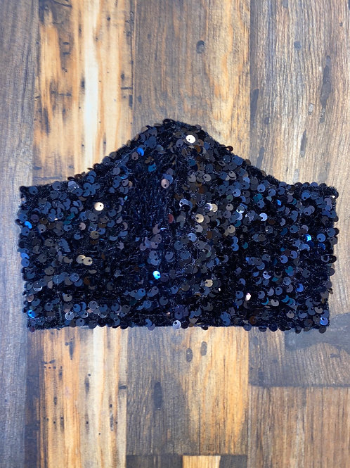 Black velvet big sequin WOMAN's 3-layer mask