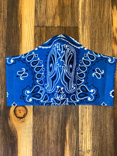 MEN's blue bandana 3-layer mask