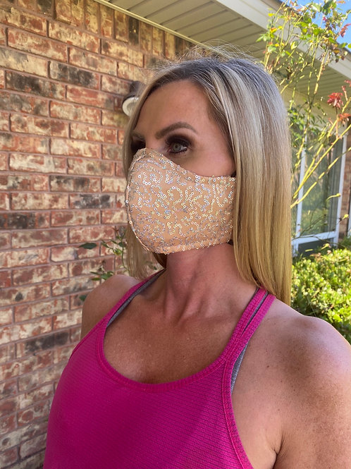 Nude/silver hologram sequin WOMAN's 3-layer mask