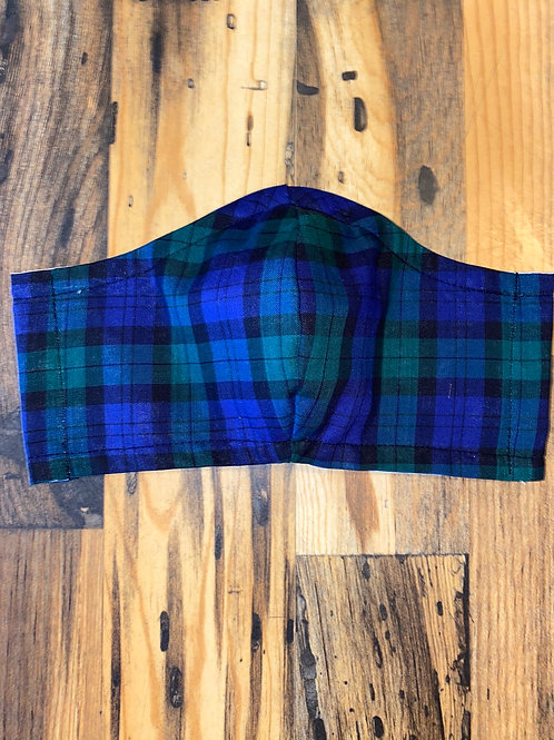 WOMEN's blue/green plaid 3-layer mask