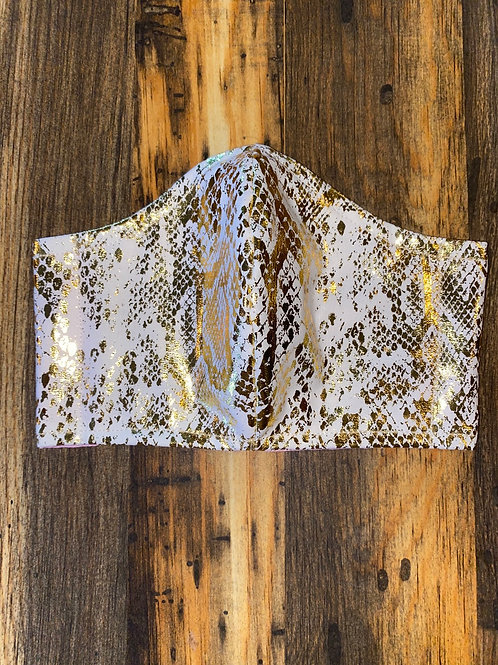 White/metallic gold snakeskin cotton 3-layer mask