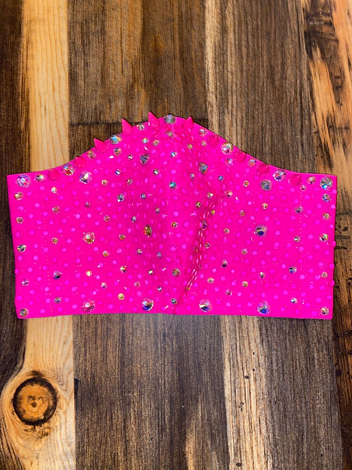 Spikes & rhinestones neon pink WOMAN's 3-layer mask