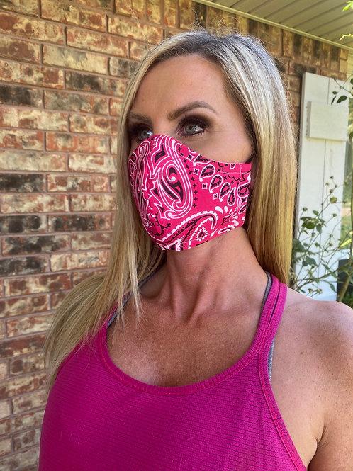 Hot pink bandana WOMEN's 3-layer mask