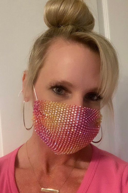 Crystal net mask-pink/orange crystal