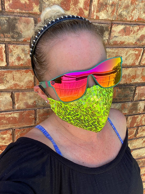 Neon yellow sequin WOMAN's 3-layer mask