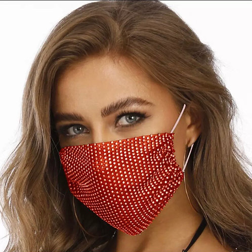 Crystal net mask-red crystal