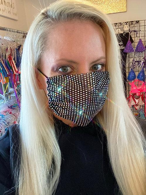 Crystal net mask-black iridescent crystal