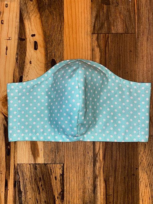 Mint/white polka dots 3-layer mask