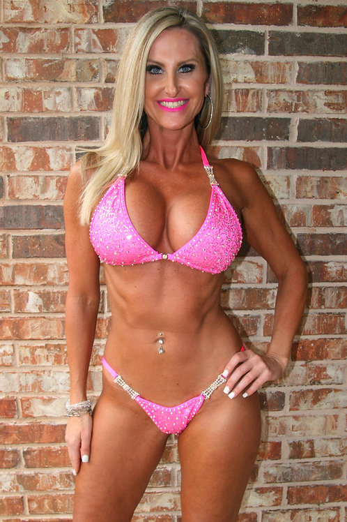 Cotton candy pink squiggle sequin scatter stone bikini