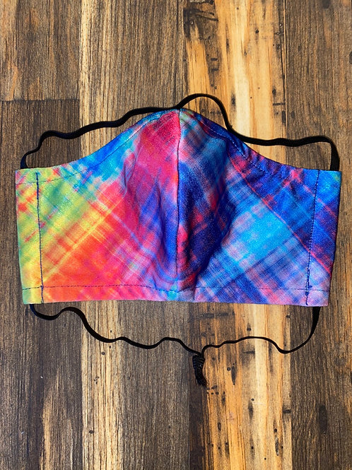 Neon plaid WOMEN's 3-layer mask