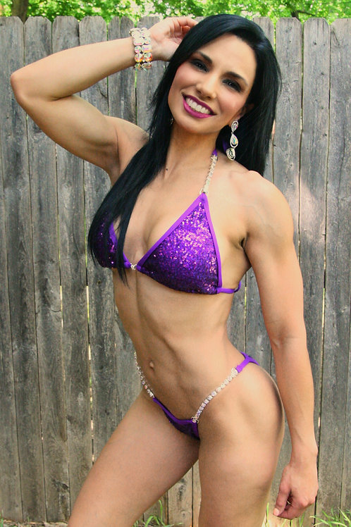 Grape cluster sequin bikini w thick single connectors