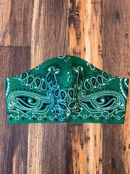 MEN's green bandana 3-layer mask