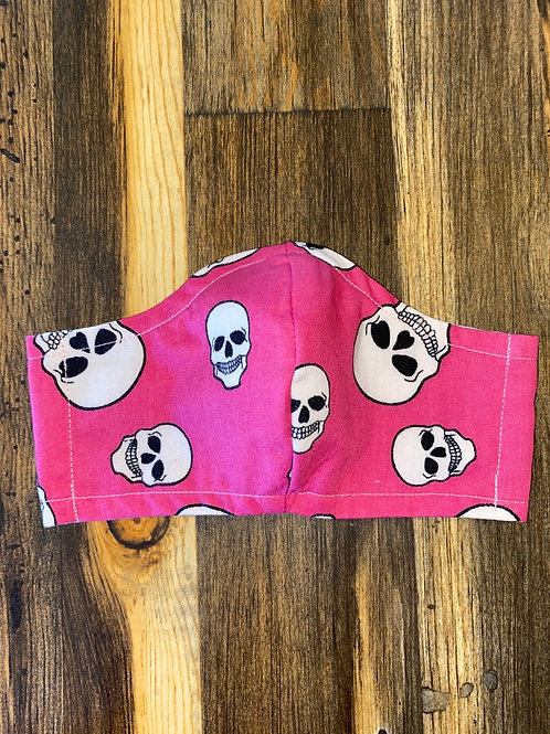 Hot pink skulls WOMAN's 3-layer mask