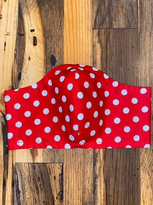 Red/white polka dot 3-layer mask
