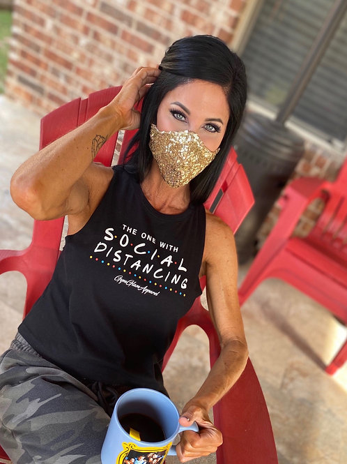Gold sequin WOMAN'S 3-layer mask