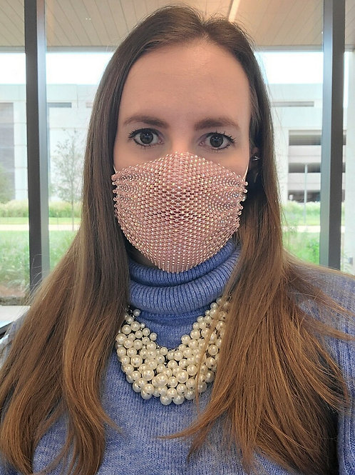 Crystal net mask-pink