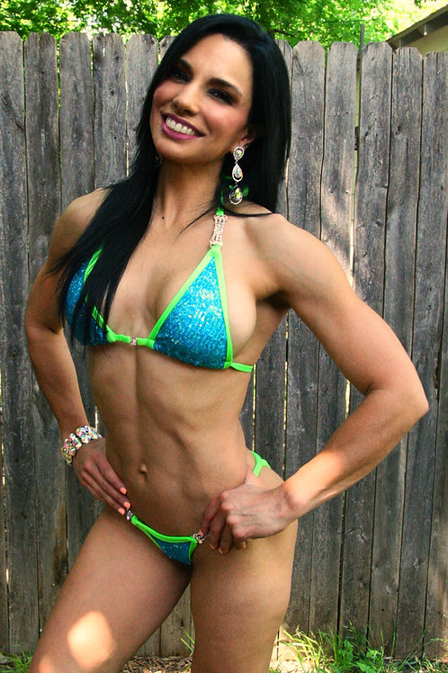 Turquoise cluster sequin/lime trim bikini w connectors
