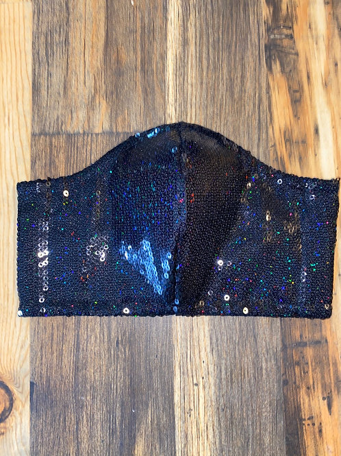 Halloween 🎃 collection sequin/black hologram 3-layer mask