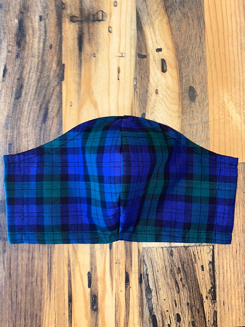 MEN's blue/green plaid 3-layer mask