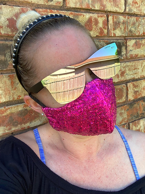 Hot pink hologram cluster sequin WOMEN's 3-layer mask