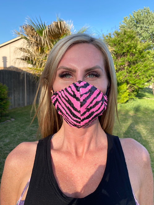 Pink Tiger sequin WOMAN's 3-layer mask