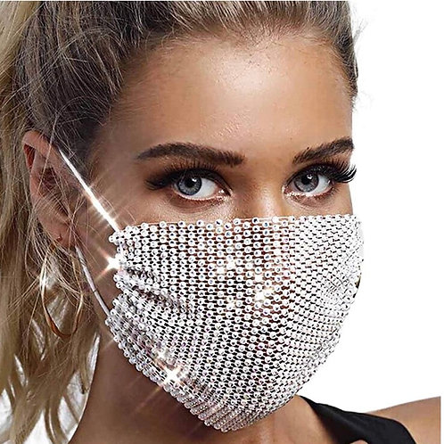 Crystal net mask-white clear crystal