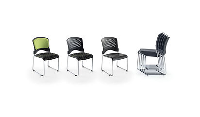 Stackable conference chairs with chrome frames and integral linking device.