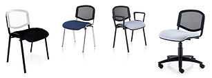 An affordable mesh side chair with black or chrome four legged frame, swivel base and optional armrests.