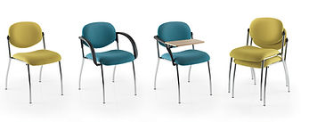 Stackable conference chairs with anti-rock back legs.