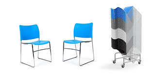 Stackable breakout chair in a contrasting range of colours and alternative frame options.