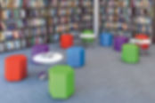 Hexad stools arranged in a library or primary education setting