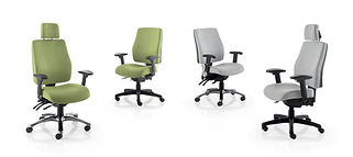 Multi-function mechanism, seat slide and tilt, inflatable lumbar and height adjustable backrest.