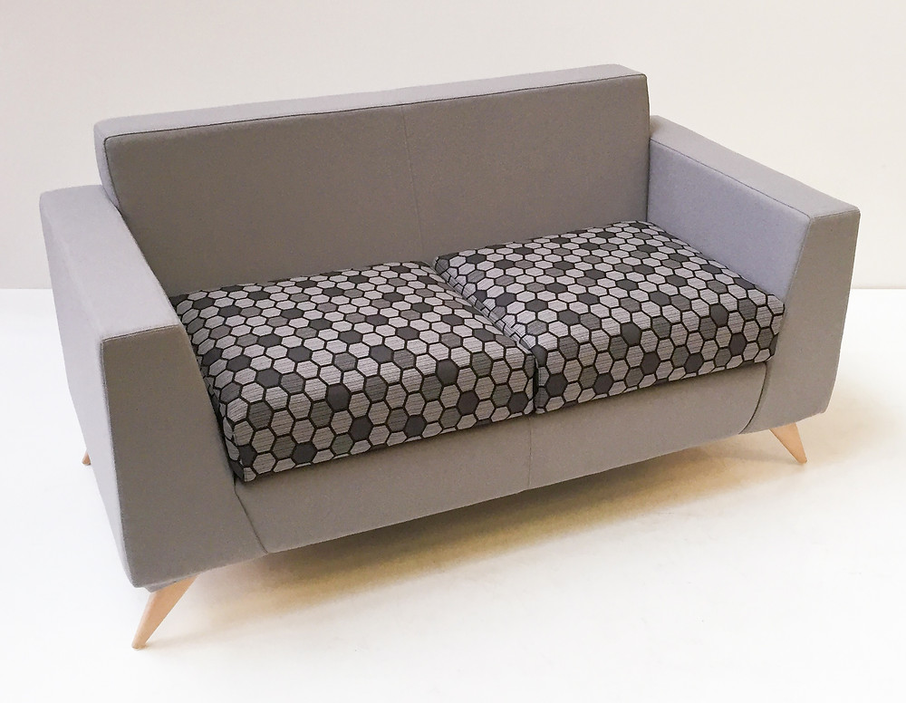 A Mosaic Plus two seater bench with chrome legs