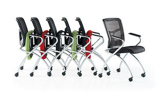 Space-saving conference and meeting chairs