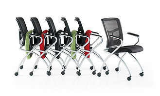 Space-saving conference and meeting chair which can be stacked horizontally.