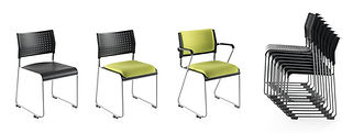 Stackable conference chairs with optional armrests and featuring an integral linking device.