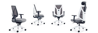 Contemporary high back mesh task chair with white outer back