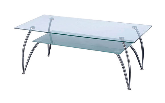 Rectangular shaped toughened glass two tier table