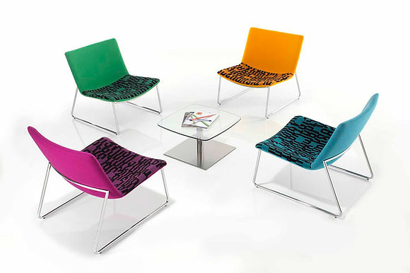 A contemporary low level chair with generous seating space suitable for all office breakout applications