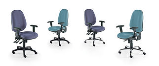 Robust task chair with large seat, extra high back and inflatbable lumbar support