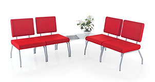 Reception chairs featuring contoured upholstery for additional comfort.