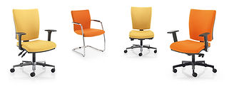 High back task chair and fully upholstered cantilver side chair duo